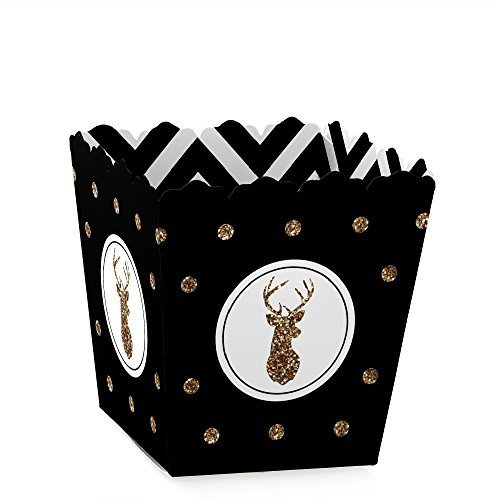Deer Christmas - Party Mini Favor Boxes - Holiday or New Year's Eve Party Treat Candy Boxes - Set of 12