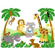 Large Jungle Animals Wall Mural