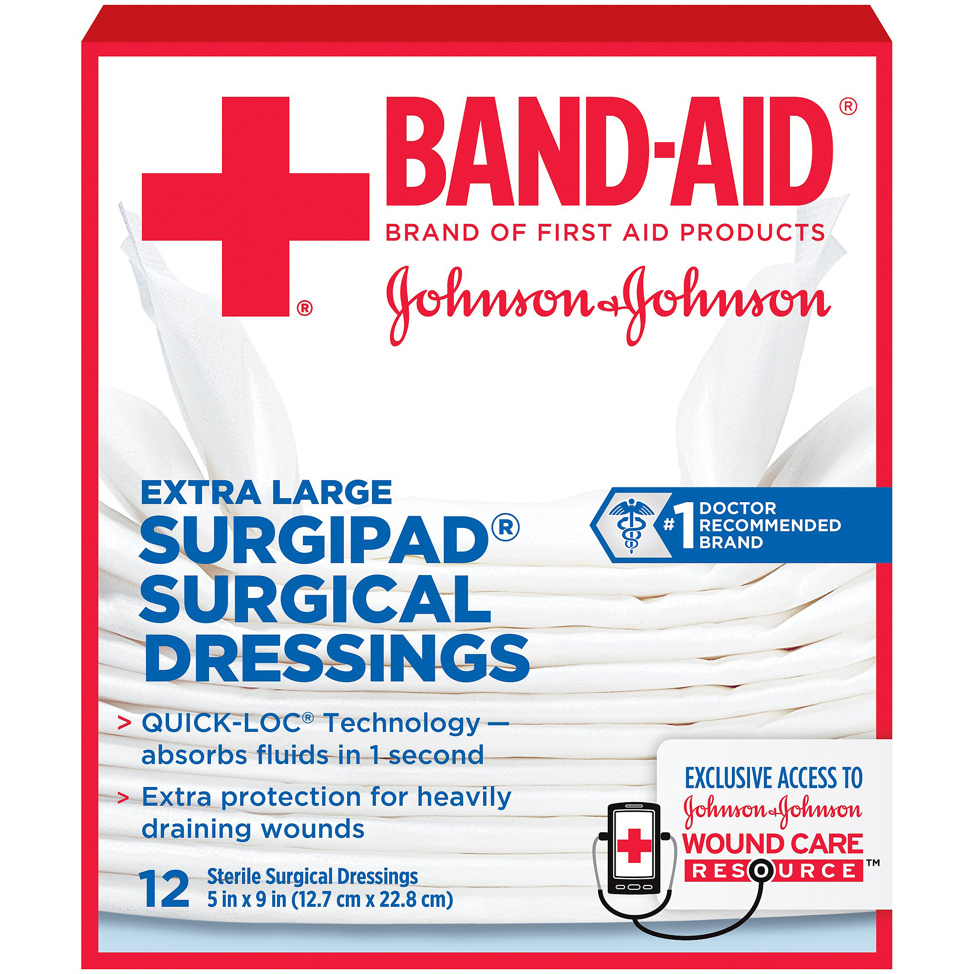 Band-Aid Sterile Surgipad Surgical Dressings, Extra Large, 12 count