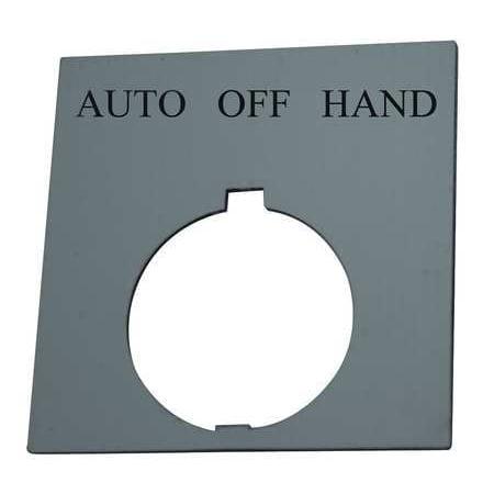 Legend Plate,Square,Auto Off Hand,Black EATON (Hand Off Auto)