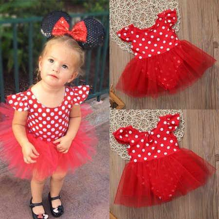 Toddler Kid Baby Girls Polka Dot Playsuit Tutu Summer Party Dresses Age 0-3Years (20s Themed Dresses)
