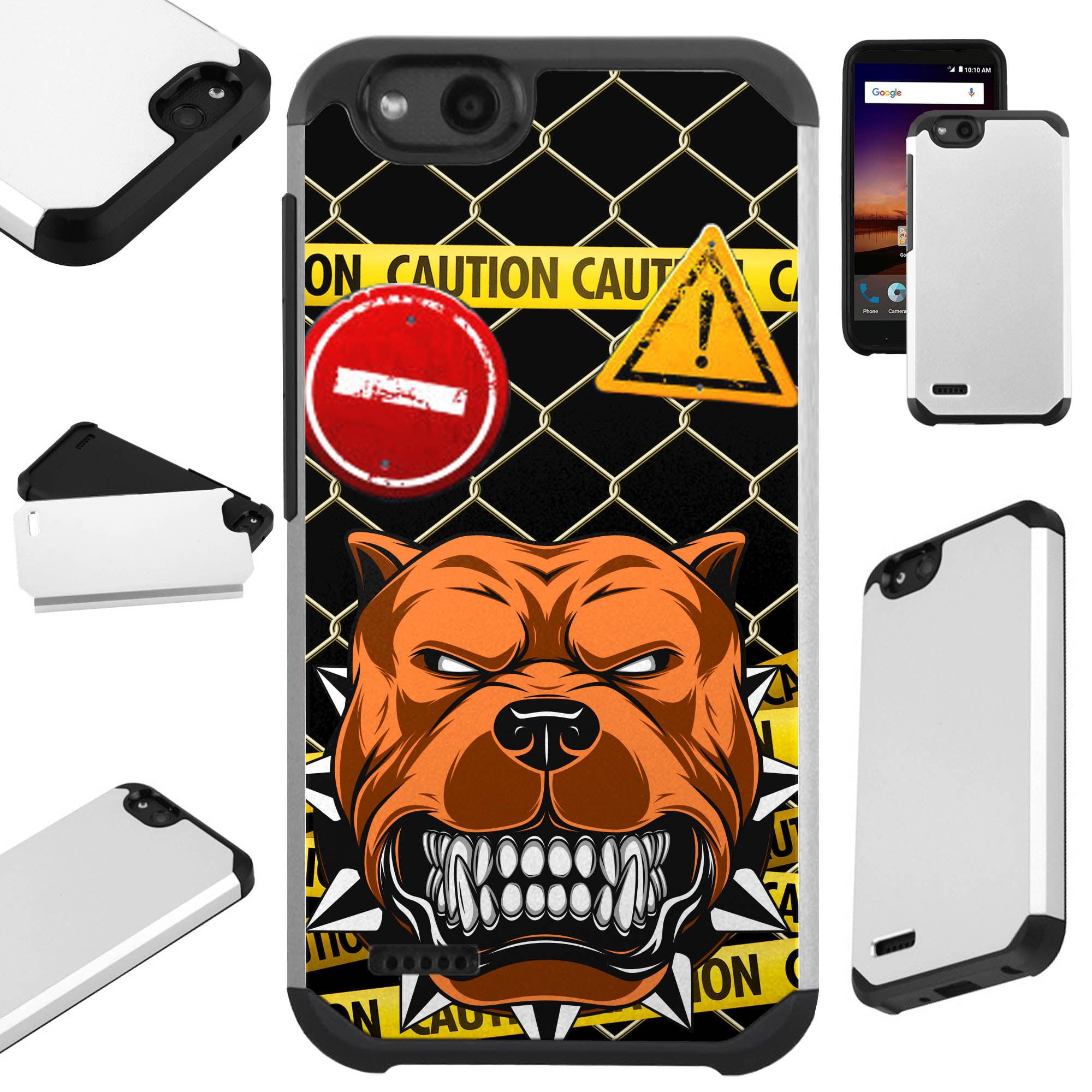 For ZTE ZFive G LTE / ZFive C / Avid 4 / Fanfare 3 / Blade Vantage / Tempo X / Tempo Go Case Hybrid TPU Fusion Phone Cover (Mad Dog Caution)