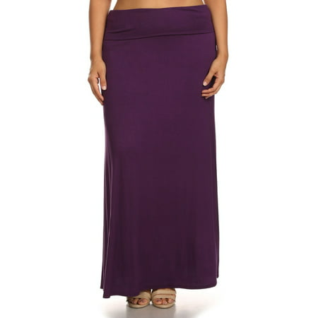 Long Go Red Skirt - Plus Size Women's Trendy Style Solid Maxi Skirt