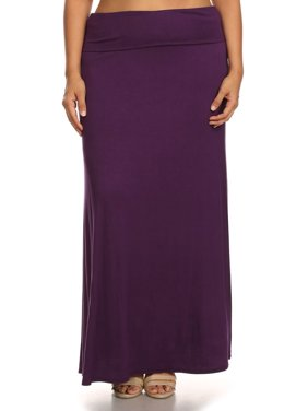 Plus Size Women's Trendy Style Solid Maxi Skirt