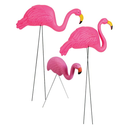 Pink Flamingo Family Set Of 3 Plastic Yard Ornament Classic Summer - Plastic Flamingo Yard Ornament