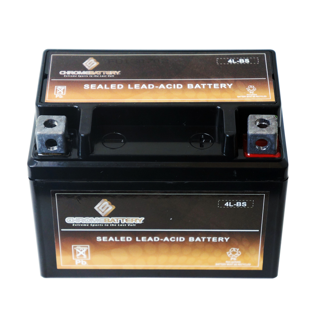 Chrome Battery M00011-10000 YTX4L-BS High Performance Maintenance Free Sealed AGM Motorcycle Battery