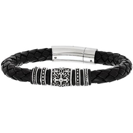 Black Polished Leather (Stainless Steel Antiqued and Polished with Rubber Black Leather Bracelet, 8.5)