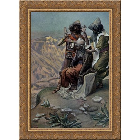 Moses On The Mountain During The Battle  As In Exodus 24X18 Gold Ornate Wood Framed Canvas Art By James Tissot