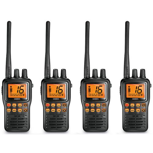 Uniden MHS75 4-Pack Two-Way Marine Radio w/ SMA Flexible Rubber Antenna