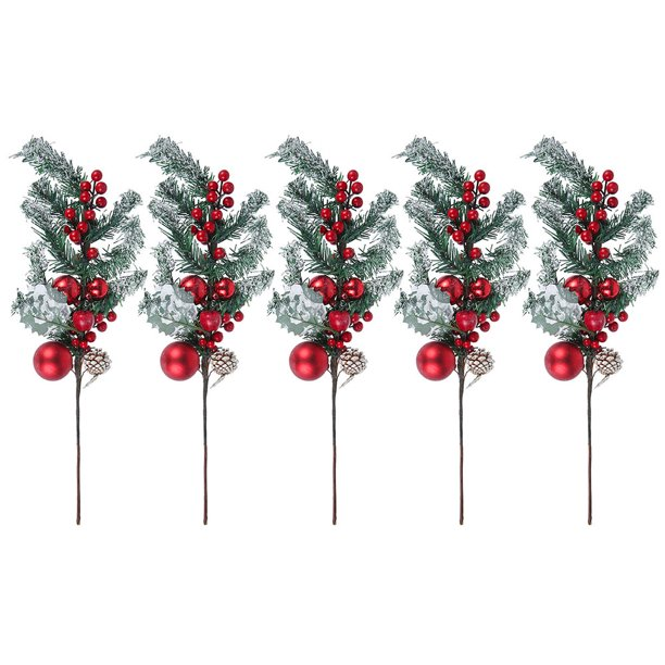 Odomy Christmas Decoration Pine Picks Artificial Frosted Pine Picks With Berries Pine Cones Artificial Pine Cone Branch Decor For Christmas Tree Garland Wreath Decor Walmart Com Walmart Com