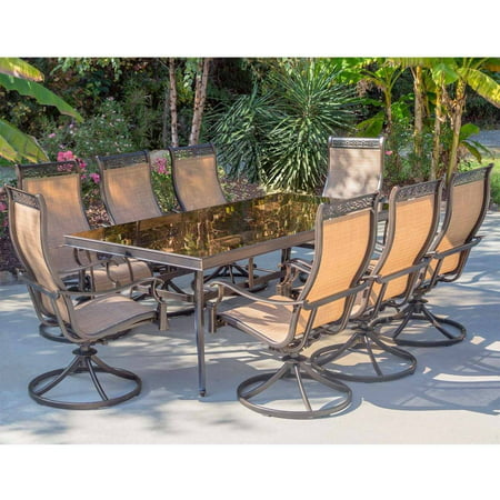 """Image of """"Hanover Outdoor Monaco 9-Piece Sling Dining Set with 42"""""""" x 84"""""""" Glass-Top Table and 8 Swivel Rockers in Cedar"""""""