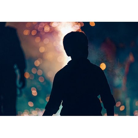LAMINATED POSTER Boy Fireworks Night Silhouette Child Family Fun Poster Print 24 x 36