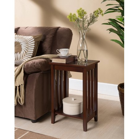 Walnut Wood 16 X 12 Accent Side End Plant Stand Display Table With Storage Shelf