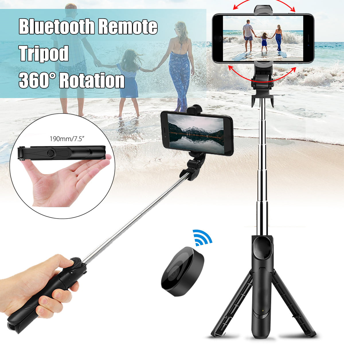 3 in 1 Bluetooth Remote Shutter Portable Handle Selfie Stick Mini Table Tripod for iOS Android Color : Black, Size : One Size Bishelle Phone Camera Tripod Phone Tripod