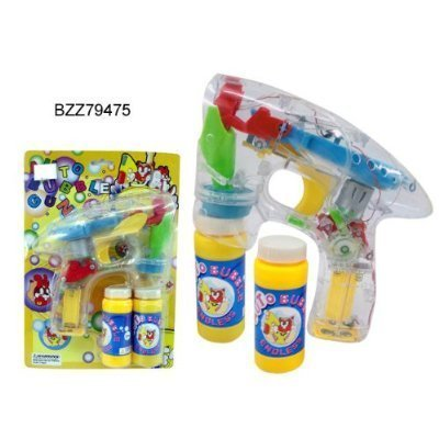 LED Bubble Gun - Funny Play Set - Battery Operated - Background Design may vary, Lights, bubbles, action! By Indigo