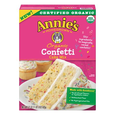 (2 Pack) Annies, Organic, Confetti, Cake Mix, 21 Ounce (Best Organic Cake Mix)