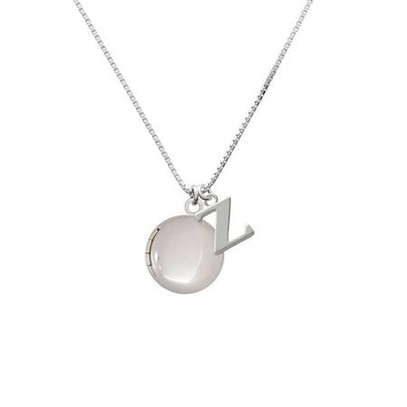 Silvertone 20mm Round Locket - Z - Initial Necklace
