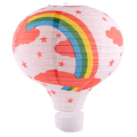 Paper Rainbow Pattern Room Hanging Hot Air Balloon Lantern White 16 Inches Dia