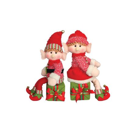 The Holiday Aisle 2 Piece Elf on a Box Stuffed Holiday Accent - Elf Box