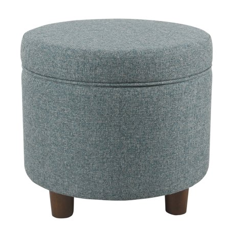 Fabric Upholstered Round Wooden Ottoman with Lift Off Lid Storage, Teal Blue ()