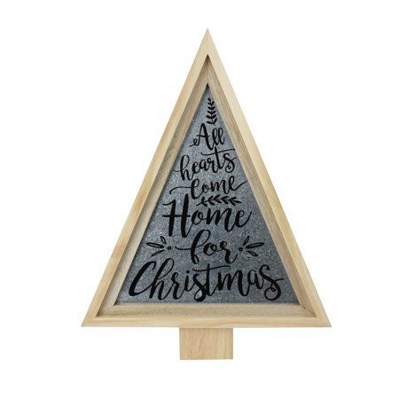 "21.5"" Tan Triangular Wooden and Galvanized Christmas Tree Wall Decor"