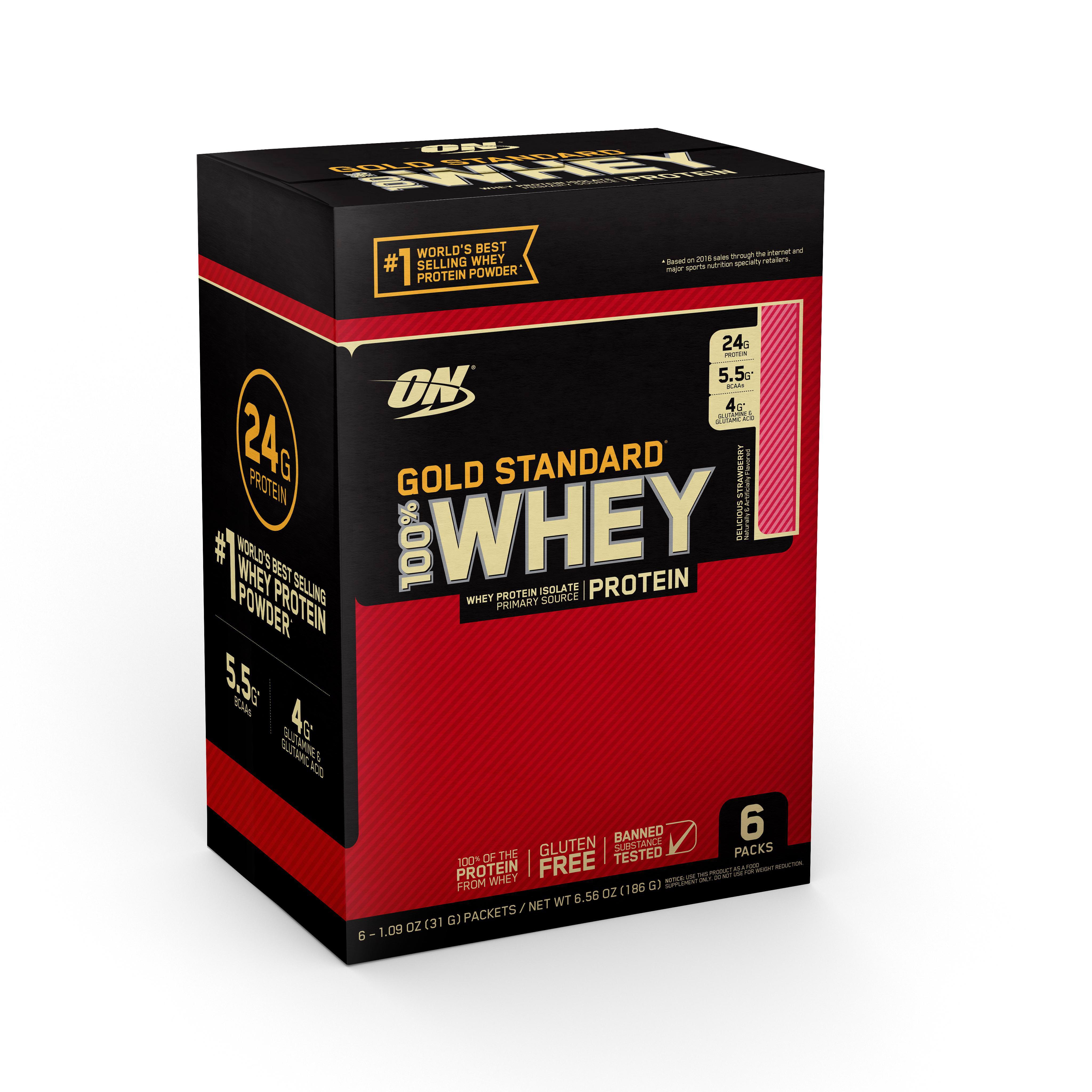 Optimum Nutrition Gold Standard 100% Whey Protein Powder, Delicious Strawberry, 24g Protein, 6 Count Sache
