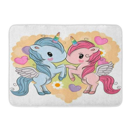 839 Bath (GODPOK Animals Pink Day Two Cute Unicorns on Hearts Mothers Baby Rug Doormat Bath Mat 23.6x15.7 inch)