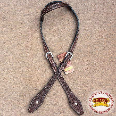 (HILASON WESTERN AMERICAN LEATHER HORSE ONE EAR BRIDLE HEADSTALL BROWN)