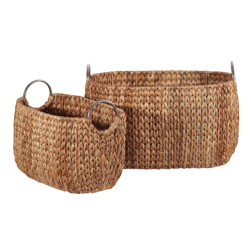Ibolili Water Hyacinth 2 Piece Oval Basket Set