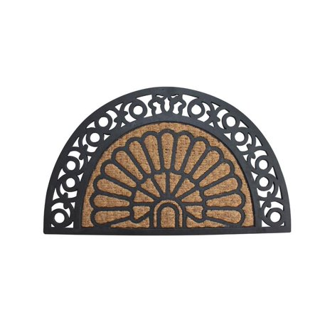 Welcome Doormat, Half Moon Fancy Outdoor Decorative 18x30 Coir Doormat