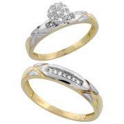 10k Yellow Gold Diamond Engagement Rings Set for Men and Women 2-Piece 0.10 cttw Brilliant Cut, 4 mm