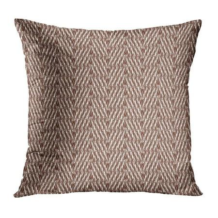 ECCOT Brown Herringbone Abstract Wool Woven Thread Braiding Carpet Framework Geometric Ivory PillowCase Pillow Cover 20x20 inch