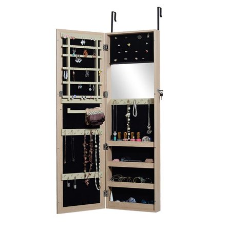 Organizedlife Full Length Mirror Jewelry Armoire Cabinet Chest with Lock Wall Door Mount ()