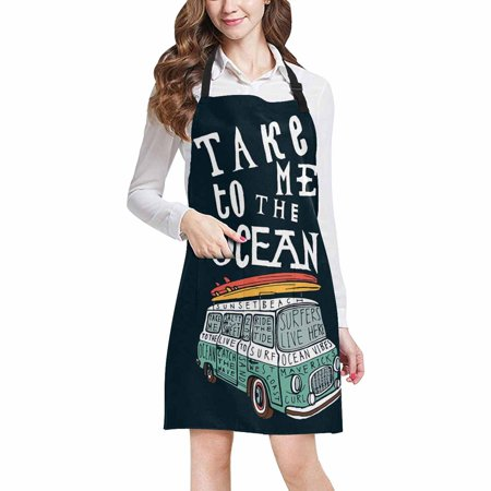 ASHLEIGH Funny Quotes Take Me to the Ocean with Van and Surfboards Home Kitchen Apron for Women Men with Pockets, Unisex Adjustable Bib Apron for Cooking Baking