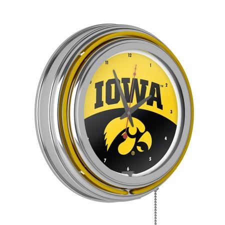 University of Iowa Chrome Double Rung Neon Clock - Logo