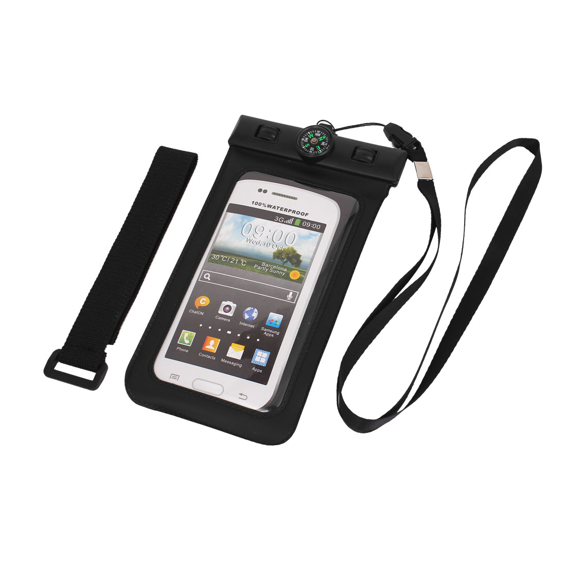 "Waterproof Bag Holder Pouch Black for 4.5"" Mobile Phone w Neck Strap Compass"
