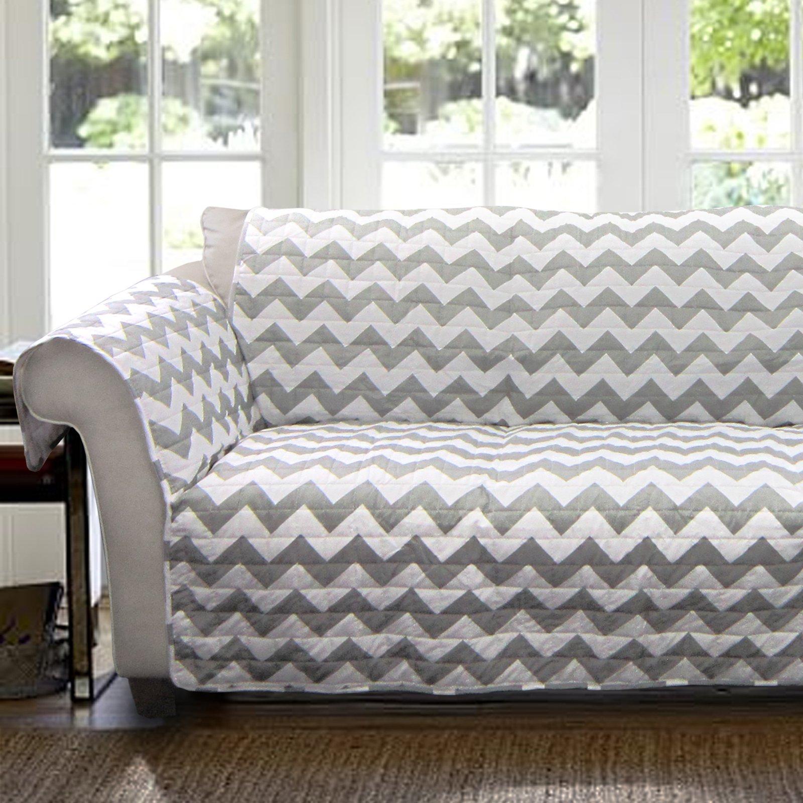 Chevron Furniture Protectors, Grey/white sofa couch cover