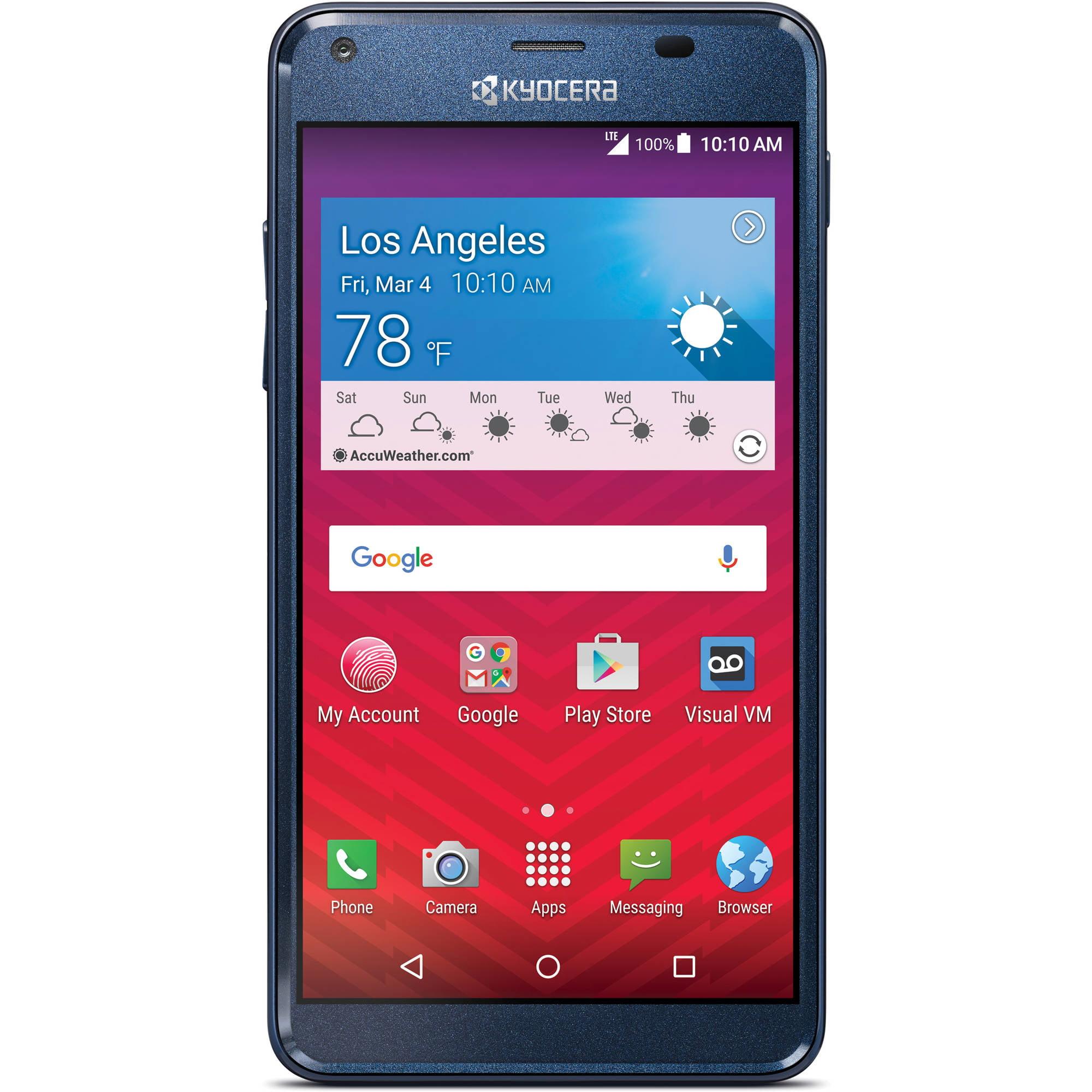 virgin mobile kyocera reach 8gb prepaid smartphone blue