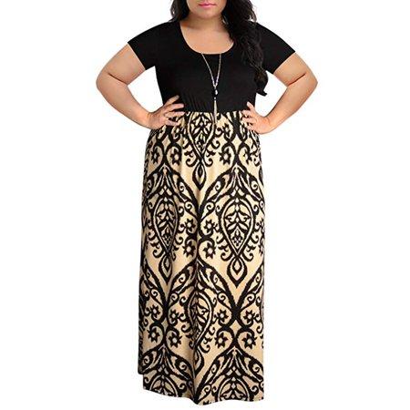 Tuscom Women's Chevron Print Summer Short Sleeve Plus Size Casual Long Maxi Dress