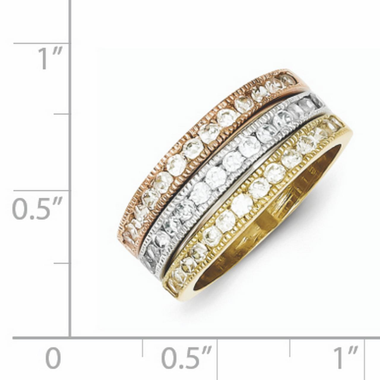 925 Sterling Silver Vermeil Trio Cubic Zirconia Cz Band Rings Size 8.00 Ring Engagement Stackable Fancy/ Fine Jewelry Gifts For Women For Her - image 1 de 2