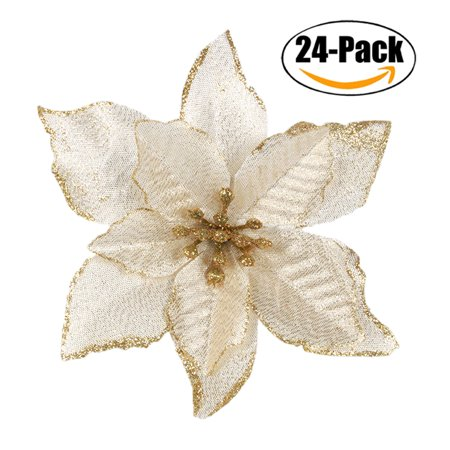 24Pcs 5.91'' Wreaths Decor, Outgeek Glitter Artificial Flowers Wedding Christmas Flowers Xmas Tree Ornaments Party Home Accessories Supplies Decorations Golden Red ()