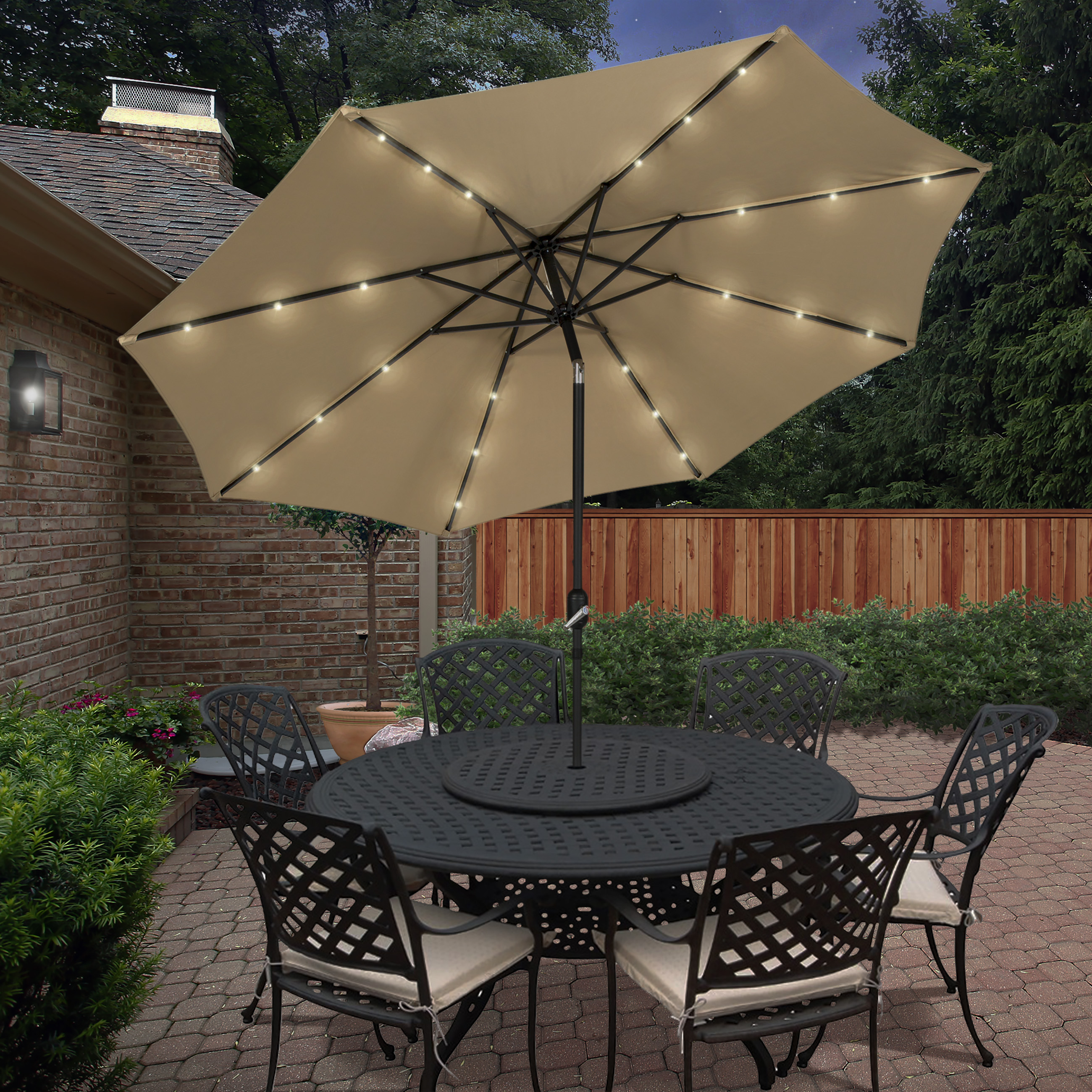 Best Choice Products 10u0027 Deluxe Solar LED Lighted Patio Umbrella With Tilt  Tan   Walmart.com
