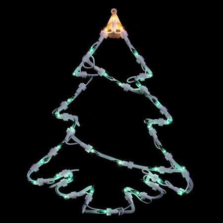 Northlight 15 in. Double Sided Lighted Tree Christmas Window Silhouette Decoration ()