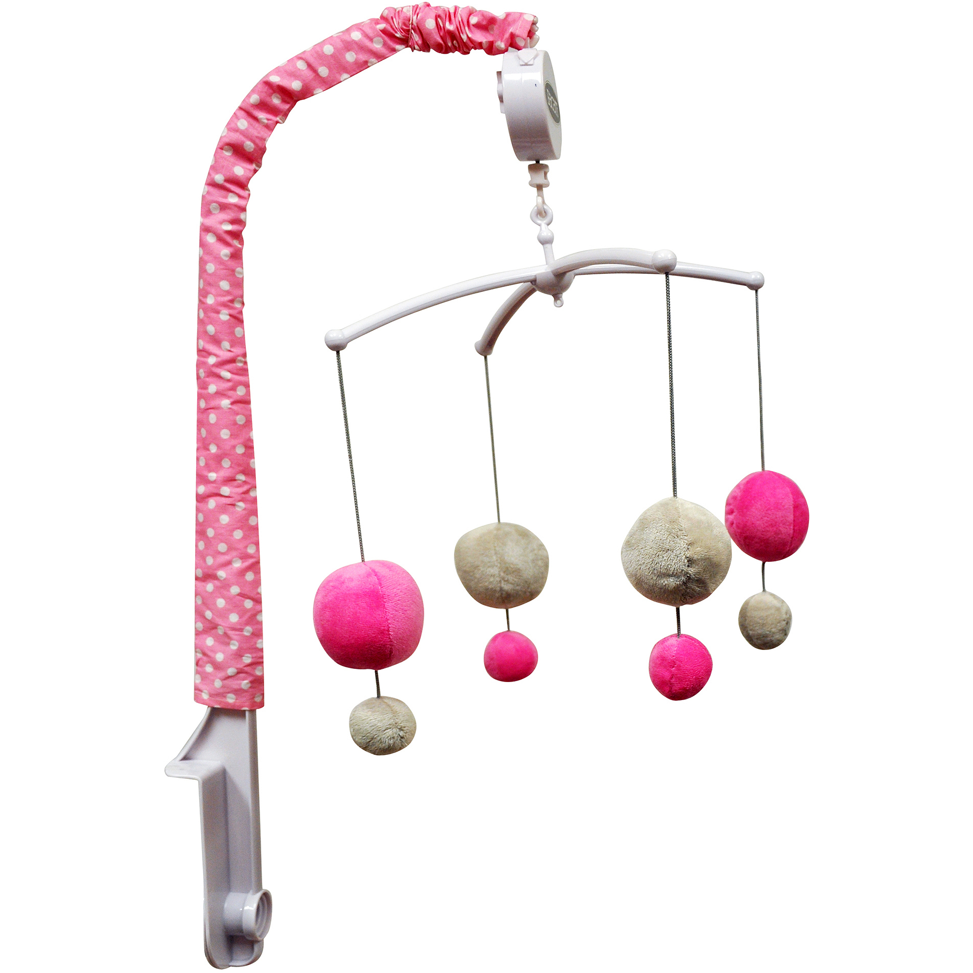 Bacati - Dots Musical Mobile with Hanging Toys, Gray/Pink