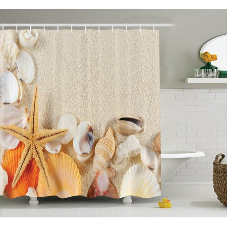 Seaside Bathroom Accessories (Seashells Decor Shower Curtain Set, Group Of Seashells Starfish On The Sand Romantic Beach Travel Destination Nature Seaside, Bathroom Accessories, 69W X 70L Inches, By)