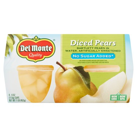 Del Monte No Sugar Added Diced Pears Bartlett Pears In Water  4 Oz  4 Count