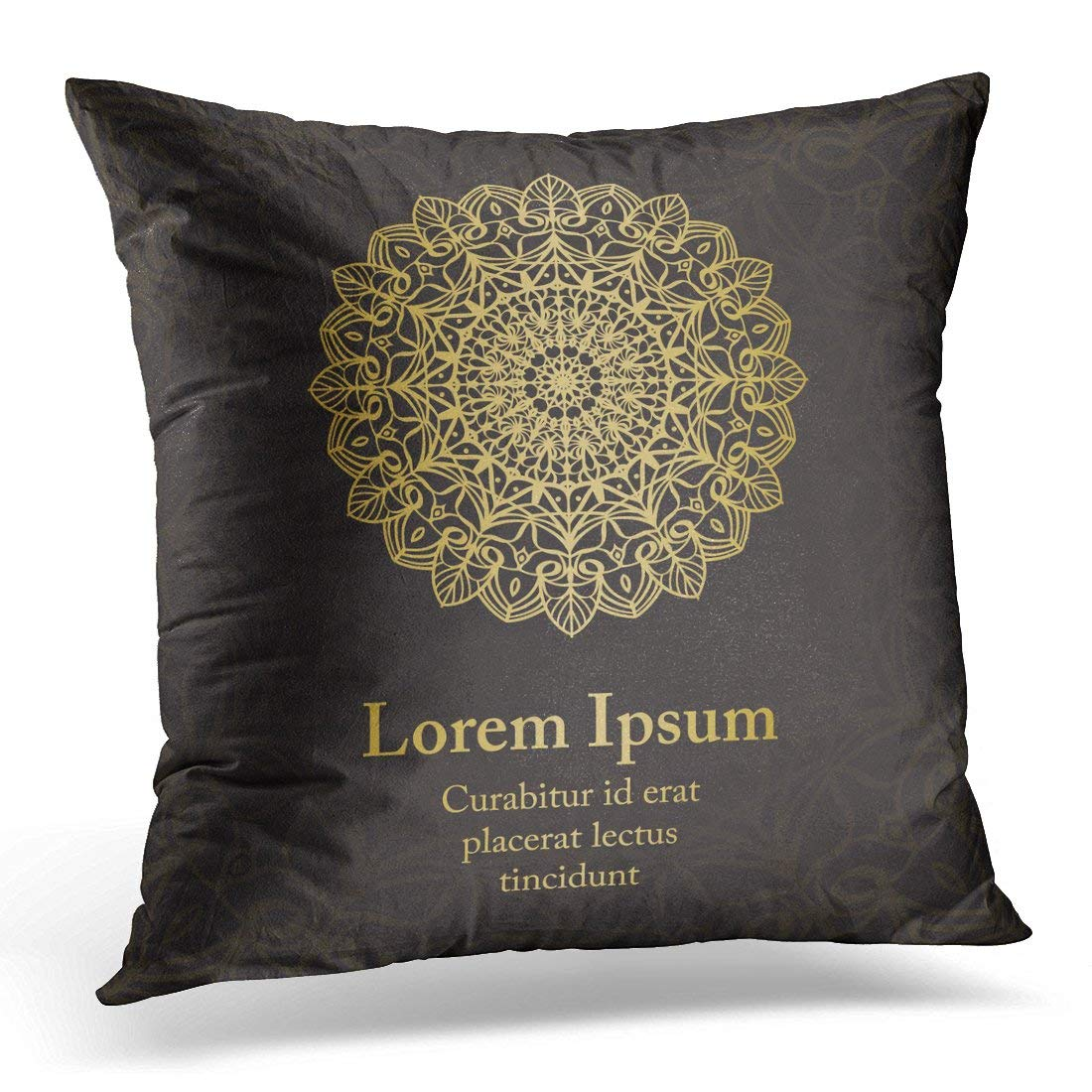 USART Henna with Gold Mandala Based on Ancient Greek and Ornaments Abstraction Pillow Case Pillow Cover 18x18 inch