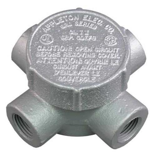 APPLETON ELECTRIC GRJX50 Conduit Outlet Box,HazLoc,X,1/2 Hub,Iron