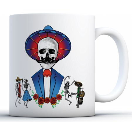 Awkward Styles Mustache Skull Coffee Mug Mexican Skull Mug for Dia de los Muertos Funny Day of the Dead Gifts for Coffee Lovers Dancing Skeletons Coffee Cup Mexican Holiday Gifts Funny Sugar Skull Mug