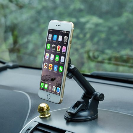 iPhone X Premium Magnetic Car Mount Dash Windshield Holder Window Rotating Dock Strong Grip Suction K6K ()